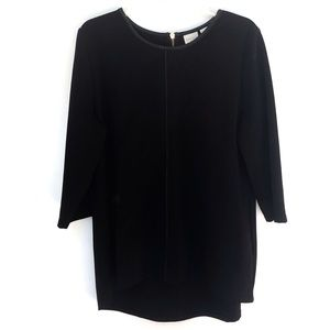 Chico's | Faux Leather Trim Black Tunic Top